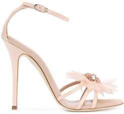 feather applique sandals - PINK
