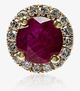 18K yellow gold and red Ruby White Diamond Single Stud Earring