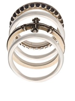embossed stackable rings - Metallic
