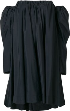 Ruched silk-blend bardot dress - Black