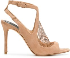 netted panel sandals - NEUTRALS