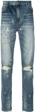 ripped embroidered slim-fit jeans - Blue