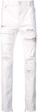 ripped slim-fit jeans - White