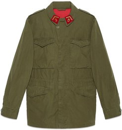 Coated parka with Gucci logo - Green