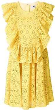 eyelet ruffled front sleeveless day dress - Yellow
