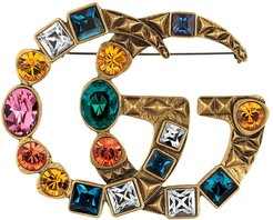 Crystal Double G brooch - Multicolour