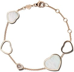 18kt rose gold Happy Hearts mother of pearl and diamond bracelet
