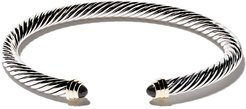 Cable Classics sterling silver, onyx & 14kt yellow gold accented cuff bracelet - S4BBO