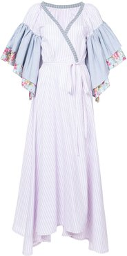 floral striped ruffle sleeve wrap dress - PINK