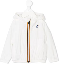 striped trim hooded jacket - White