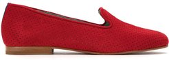 perforated suede loafers - Red
