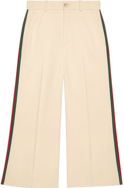 Viscose culotte pant with Web - White