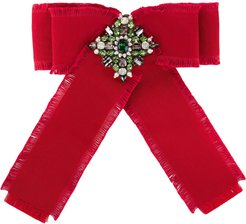 Grosgrain bow brooch - Red