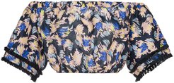 Yuna print silk linen-blend cropped top - Multicolour