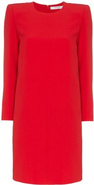 exaggerated shoulders dress - Red