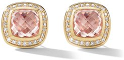 18kt yellow gold and white Albion morganite and diamond stud earrings - 88AMODI