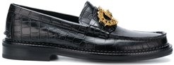 croco-embossed loafers - Black