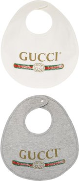 Baby Gucci logo cotton bib set - Grey