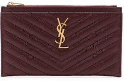 Monogramme quilted wallet - Red