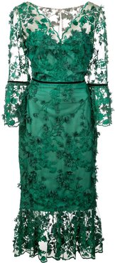 embroidered midi tea dress - Green