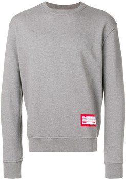Sweatshirt With Patch Name Tag - Grey