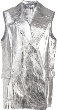 metallic sleeveless jacket