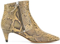 snake printed kitten heel boot - NEUTRALS