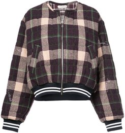 checked bomber jacket - PINK