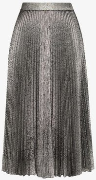 pleated lamé midi skirt