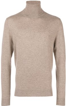 split roll neck jumper - Neutrals