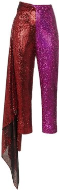 high-waisted slim fit trousers - Red