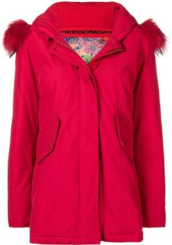 padded hooded coat - Red