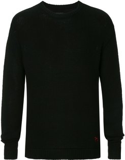 cashmere slogan embroidered jumper - Black