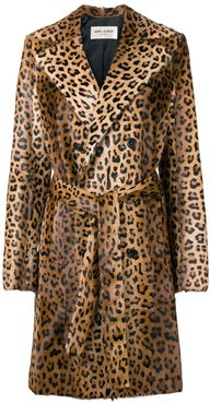 leopard print trench coat - Brown
