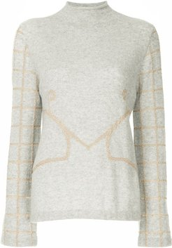 embroidered knit sweater - Grey