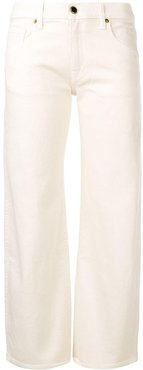 low rise straight-leg jeans - White