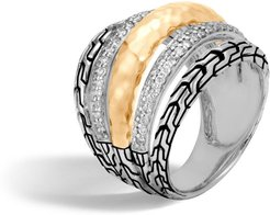 18K Yellow Gold, Silver and Diamond Pave Classic Chain Ring - Silver/Gold
