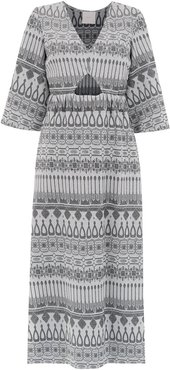 printed long dress - SILVER