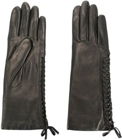 gloves with lace detail - Black