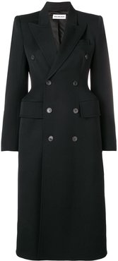 hourglass double-breasted coat - Black