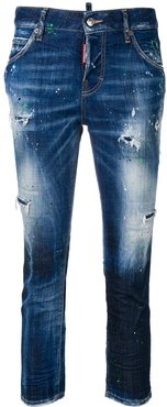 ripped skinny crop jeans - Blue