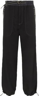 belted technical trousers - Black