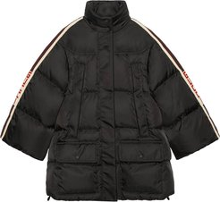 Padded nylon cape jacket with Gucci stripe - Black