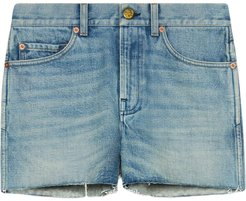 patch denim shorts - Blue