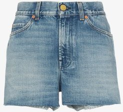 strawberry patch denim shorts
