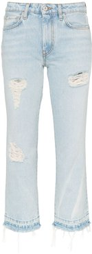 mid-rise distressed cropped jeans - Blue