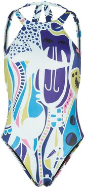 Night Walkers high neck backless Swimsuit - MULTICOLOURED