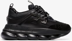 black Chain Reaction chunky faux leather sneakers