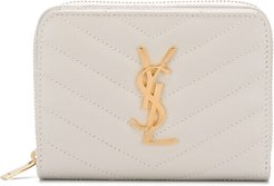 logo plaque quilted wallet - Neutrals