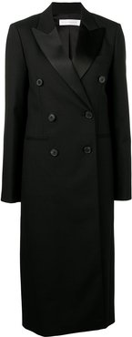 double breasted midi coat - Black